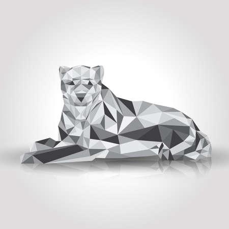 roaring tiger: Leopard stylized triangle polygonal model