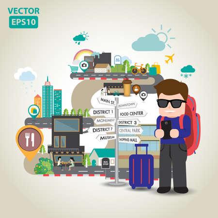 Illustration of travel in the city vector Иллюстрация