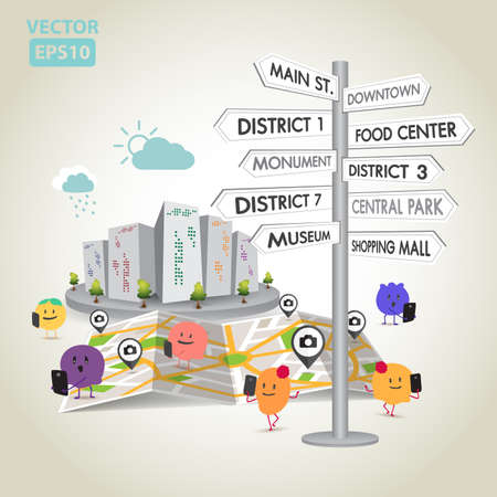 house icon: Illustration of travel in the city vector Illustration
