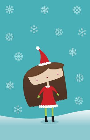awe: A young cute girl dressed in winter attire stands in awe of the snowflakes. All Layers grouped for easy editing. Gradient in the hair. No transparencies or blends used.