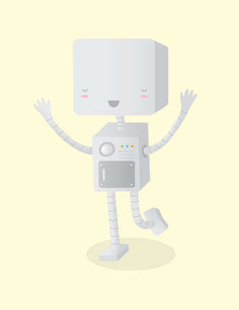 A illustration of a happy robot