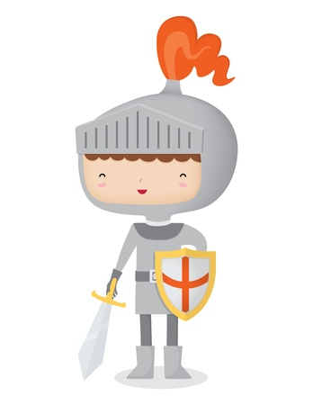 cartoon knight: A vector illustration of a happy knight ready with his sword and shield  This is an Ai 10 file that does not contain any transparencies or blends  It does contain gradients and gradient meshes