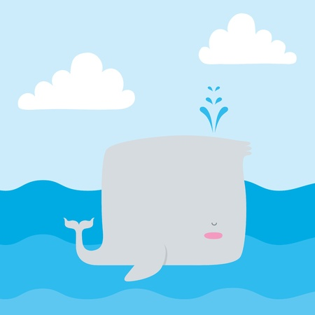 A vector illustration of whale out at sea  This is an Ai 10 file that does not contain any gradients, transparencies, or blends  Иллюстрация