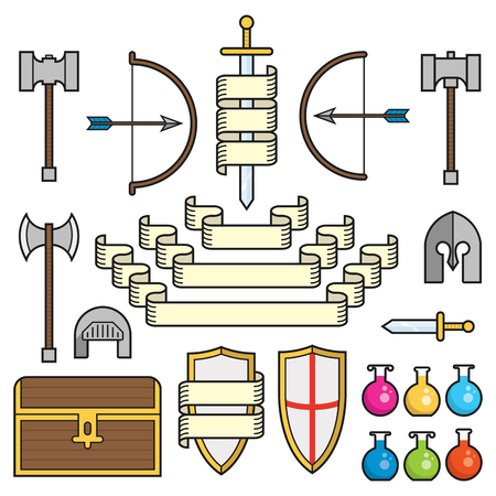 A set of symbols of classic elements found in fantasy and medieval settings, along with scrolls and banners    Vector
