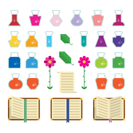 alchemy: A set of flat geometric alchemy related items.  Illustration