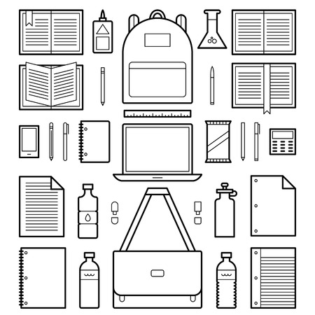 A set of geometric line icons of school related supplies. This is an Ai 10 file that does not contain transparencies, gradients, or blends. All layers have been grouped and named for easy editing.