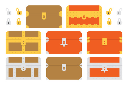 A set of flat geometric treasure chests and locks. This is an Ai 10 file that does not contain transparencies, gradients, or blends. All layers have been grouped and named for easy editing. Stock Vector - 32367037