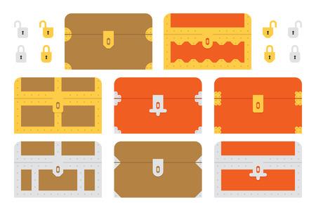 cofre del tesoro: Un conjunto de cofres del tesoro geom�tricas planas y las cerraduras. Este es un archivo de Ai 10 que no contiene transparencias, degradados o mezclas. Todas las capas se han agrupado y nombrado para facilitar la edici�n. Vectores