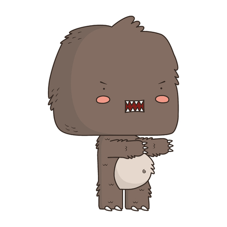 A vector illustration of a cute and angry monster.