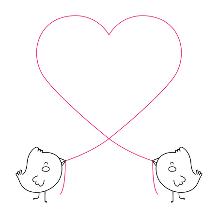 homosexual couple: A vector illustration of two cute birds creating a heart with a piece of string. This is an Ai 10 file that does not contain transparencies, gradients, or blends. All layers have been grouped and named for easy editing.
