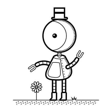 A vector illustration of a robot in a top hat. The robot is mostly one shape but is separate from the ground and flower. This is an Ai 10 file that does not contain transparencies, gradients, or blends. Vector