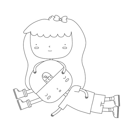 A vector illustration of a girl holding a boys head in her lap. The boy and girl are mostly one shape. This is an Ai 10 file that does not contain transparencies, gradients, or blends.