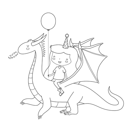 mostly: A vector illustration of a birthday girl riding a dragon. The girl and dragon are mostly one shape. This is an Ai 10 file that does not contain transparencies, gradients, or blends. All layers have been grouped  and named for easy editing. Illustration