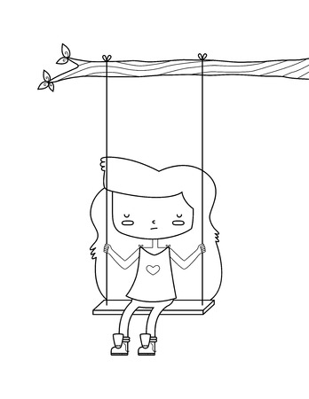A vector illustration of a sad girl on a swing. The girl, swing, and branch are mostly one shape. This is an Ai 10 file that does not contain transparencies, gradients, or blends.