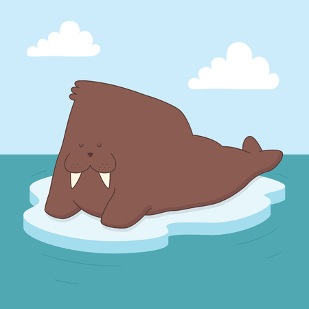 A vector illustration of a walrus relaxing on ice out on the sea. This is an Ai 10 file that does not contain transparencies, gradients, or blends. All layers have been grouped  and named for easy editing.