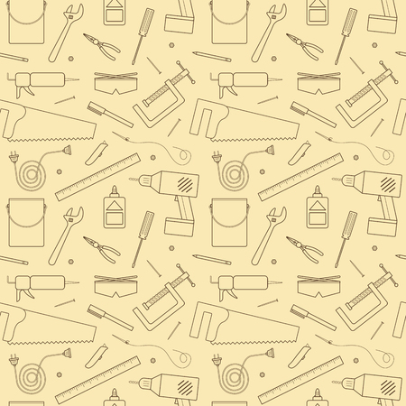 A  seamless pattern of various tools and other items found and used inside of a workshop. This is an Ai 10 file that does not contain transparencies, gradients, or blends. All layers have been grouped  and named for easy editing. Illustration