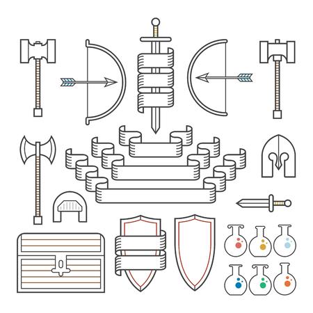 medieval: Un conjunto de símbolos de elementos clásicos descritos encuentra en la fantasía y la configuración de la Edad Media, junto con pancartas.