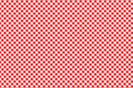 Czerwony wzór w kratkę. Tekstura z rombów/kwadratów na - kratę, obrusy, ubrania, koszule, sukienki, papier, pościel, koce, kołdry i inne wyroby tekstylne. Ilustracja wektorowa.