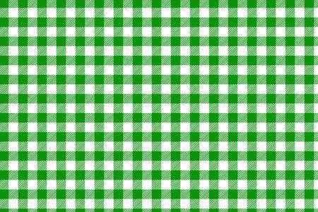 Patrón de guinga horizontal verde. Textura de rombos / cuadrados para: cuadros, manteles, ropa, camisas, vestidos, papel, ropa de cama, mantas, edredones y otros productos textiles Ilustración de vector