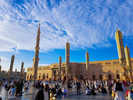 Madinah, Saudi Arabia march 2019, Muslims at Prophet Muhammads mosque square in Madinah Al-Munawarrah. The mosque is one of the holiest places for muslims. Sajtókép