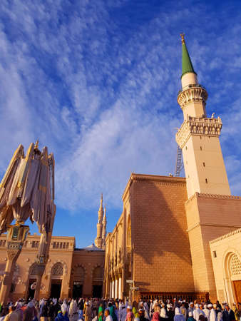Madinah, Saudi Arabia march 2019, Muslims at Prophet Muhammad's mosque square in Madinah Al-Munawarrah. The mosque is one of the holiest places for muslims. Stock fotó - 140786710