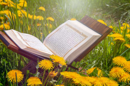 Holy book of Muslims around the world. An open page of Quran Stock Photo