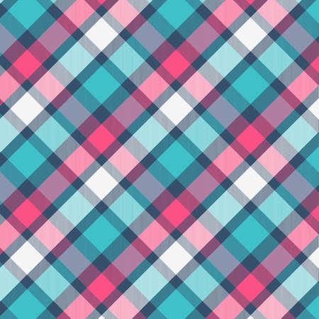 Muster in Magenta und Cyan. Textur für Plaid, Tischdecken, Kleidung, Hemden, Kleider, Papier, Bettwäsche, Decken, Steppdecken und andere Textilprodukte. Vektor-Illustration