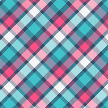Pattern in magenta and Cyan . Texture for plaid, tablecloths, clothes, shirts, dresses, paper, bedding, blankets, quilts and other textile products. Vector illustration