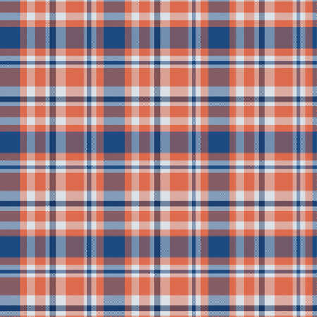 Pattern in blue and orange. Texture for plaid, tablecloths, clothes, shirts, dresses, paper, bedding, blankets, quilts and other textile products. Vector illustration Illustration