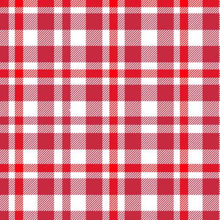 Tartan, Rot und Weiß kariertes Muster. Textur für Plaid, Tischdecken, Kleidung, Hemden, Kleider, Papier, Bettwäsche, Decken, Steppdecken und andere Textilprodukte.