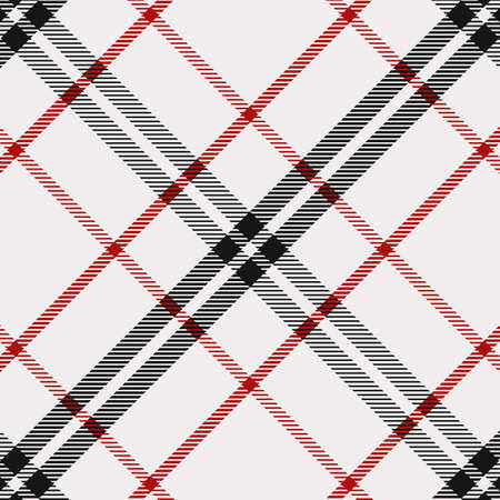 Tartan Pattern in Red,Black and White. Texture for plaid, tablecloths, clothes, shirts, dresses, paper, bedding, blankets, quilts and other textile products. Illustration
