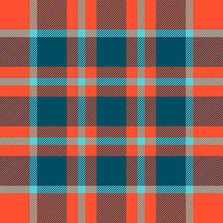 Tartan seamless orange and blue pattern.Texture for plaid, tablecloths, clothes, shirts, dresses, paper, bedding, blankets, quilts and other textile products. Vector illustration