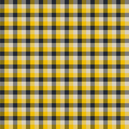 Gingham seamless yellow and black pattern. Texture for plaid, tablecloths, clothes, shirts,dresses,paper,bedding,blankets,quilts and other textile products. Vector Illustration