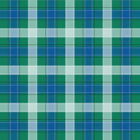 Green and Blue Gingham pattern. Texture from squares for - plaid, tablecloths, clothes, shirts, dresses, paper, bedding, blankets, quilts and other textile products. Vector illustration