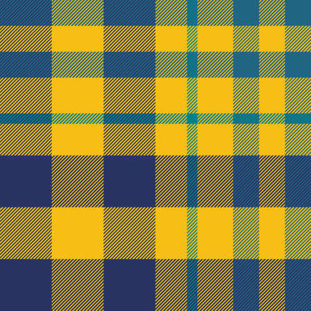 Tartan Pattern in Blue and Yellow. Texture for plaid, tablecloths, clothes, shirts, dresses, paper, bedding, blankets, quilts and other textile products.  イラスト・ベクター素材