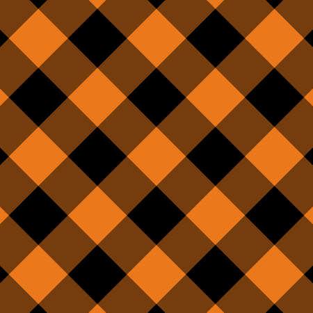 Motif vichy orange et noir. Texture des carrés pour plaid, nappes, vêtements, chemises, robes, papier, literie, couvertures, couettes et autres produits textiles. Illustration vectorielle