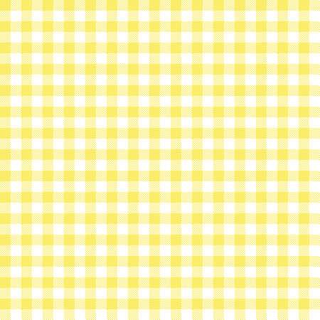 Nahtloses Muster des gelben Ginghams. Textur aus Rauten/Quadraten für - Plaid, Tischdecken, Kleidung, Hemden, Kleider, Papier, Bettzeug, Decken, Steppdecken und andere Textilprodukte. Vektorgrafik