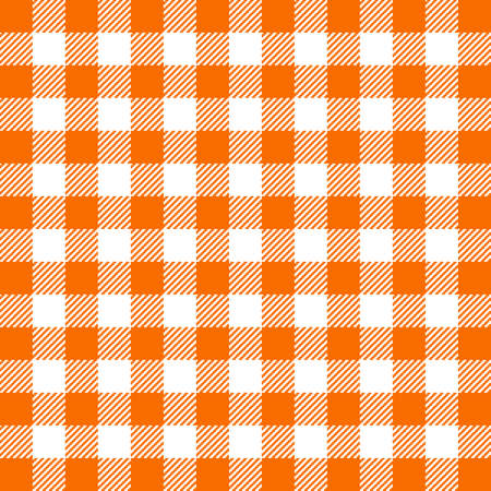 Orange Gingham seamless pattern. Texture from squares for - plaid, tablecloths, clothes, shirts, dresses, paper, bedding, blankets, quilts and other textile products. Vector illustration