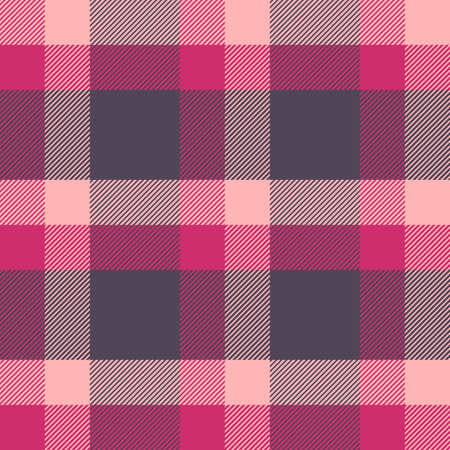 Tartan red and pink seamless pattern.Texture for plaid, tablecloths, clothes, shirts, dresses, paper, bedding, blankets, quilts and other textile products. Vector illustration Çizim