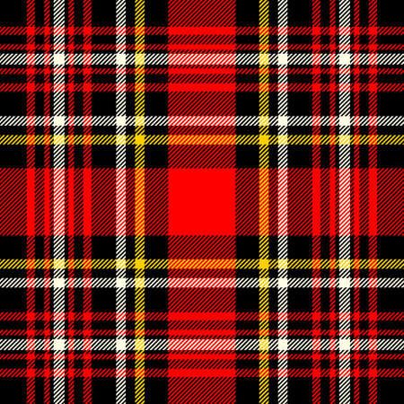 Cuadros escoceses y patrón de vector a cuadros sin costura negro.