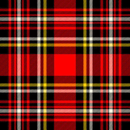 Scottish plaid and black seamless checkered vector pattern.