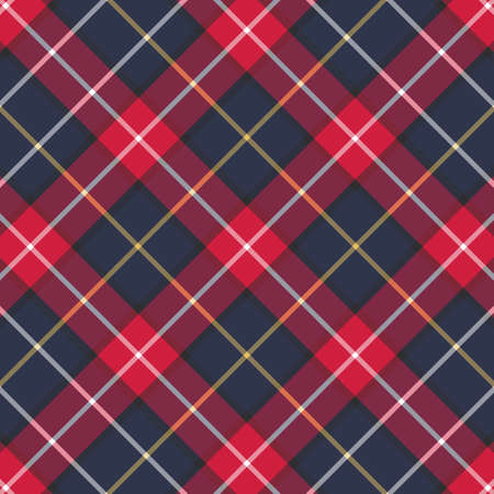 Scottish plaid and blue seamless checkered vector pattern.