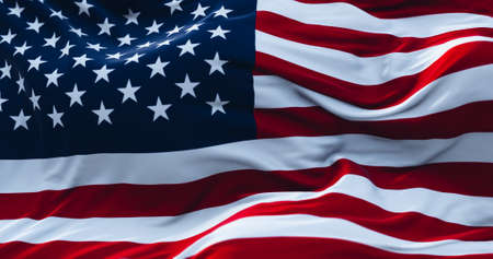 USA flag. Realistic flag of USA on the wavy surface of fabric. 3D Rendering.