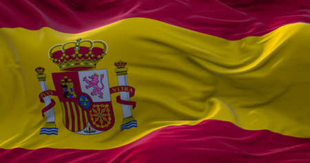 Spain flag. Realistic flag of Spain on the wavy surface of fabric. 3D Rendering Zdjęcie Seryjne