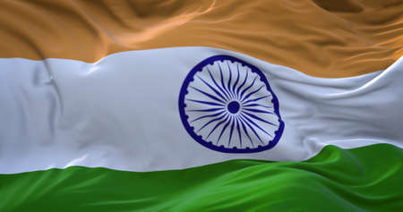 India flag. Realistic flag of India on the wavy surface of fabric. 3D Rendering Zdjęcie Seryjne