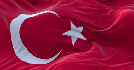 Turkey flag. Realistic flag of Turkey on the wavy surface of fabric. 3D Rendering