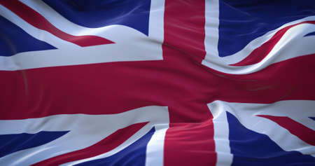 UK, Great Britain, United Kingdom flag. Realistic flag of UK on the wavy surface of fabric. 3D Rendering