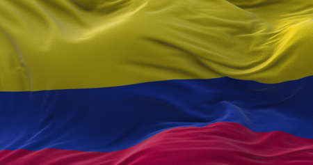 Colombia flag waving in the wind. 3D rendering.