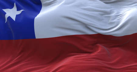 Chile flag waving in the wind. 3D rendering.