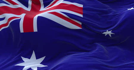 Australia flag waving in the wind. 3D rendering.